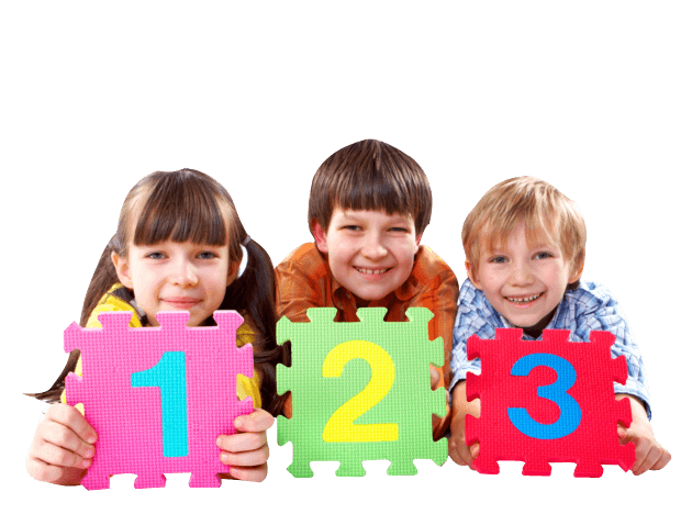 three smiling kids holding big puzzle pieces with numbers